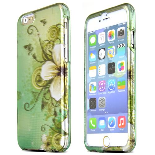 Apple iPhone 6/ 6S Case,  [White Hawaiian Flowers on Green Matte]  Slim & Protective Rubberized Matte Finish Snap-on Hard Polycarbonate Plastic Case Cover