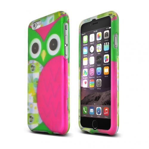 Apple iPhone 6/ 6S Case,  [Hot Pink/ Green Owl]  Slim & Protective Rubberized Matte Finish Snap-on Hard Polycarbonate Plastic Case Cover
