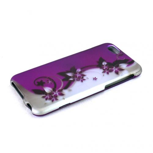 Apple iPhone 6/ 6S Case,  [Purple Vines/ Flowers on Silver]  Slim & Protective Rubberized Matte Finish Snap-on Hard Polycarbonate Plastic Case Cover