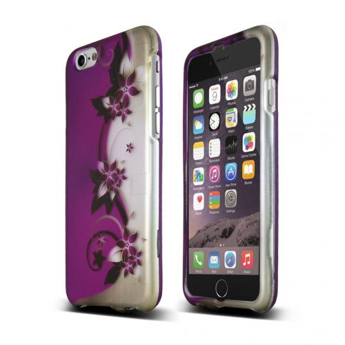 "Purple Vines/ Flowers on Silver Apple iPhone 6 (4.7"") Matte Rubberized Hard Case Cover; Perfect fit as Best Coolest Design Plastic Cases"