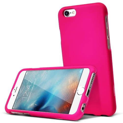 Apple iPhone 6S Case, [Hot Pink] Slim & Protective Rubberized Matte Hard Plastic Case
