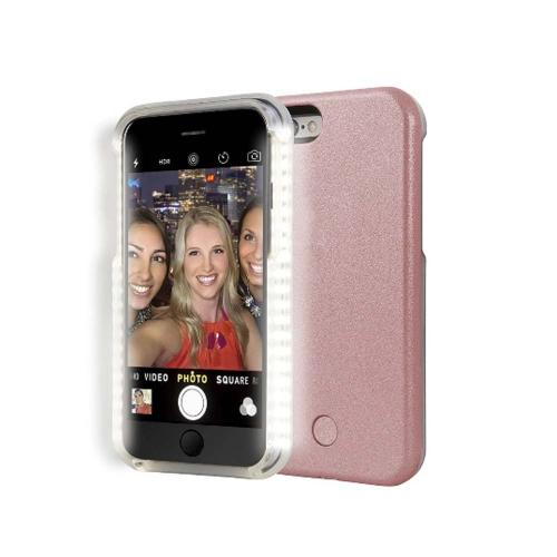 Apple iPhone 6/6S Plus (5.5 inch) Selfie Case, Led Case Increases Facial Light, Luminous Cell Phone Light Up Bumper [Rose Gold]