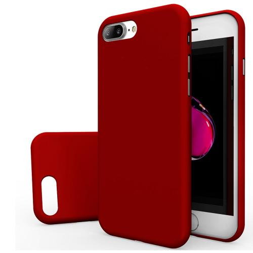 [Apple iPhone 7 Plus] (5.5 inch) Case, [REDshield] Slim & Protective Rubberized Matte Finish Snap-on Hard Polycarbonate Plastic Case Cover [Red] with Travel Wallet Phone Stand