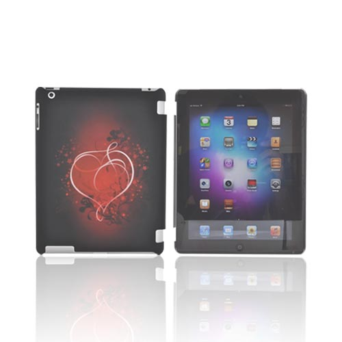 Apple New iPad (3rd Gen.) Rubberized Hard Case - Red Heart on Stars