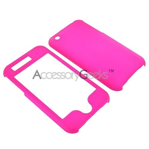 Apple iPhone II 3G Rubberized Hard Protective Case - Hot Pink