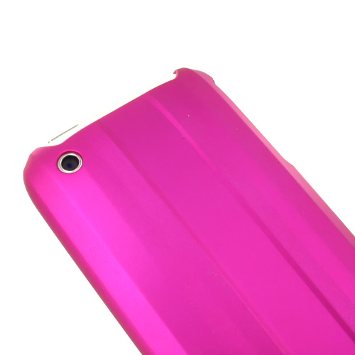 Premium Apple iPhone 3G 3GS Rubberized Hard Back Cover - Linear on Hot Pink