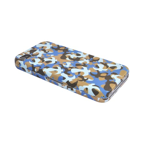 Luxmo Apple Verizon/ AT&T iPhone 4, iPhone 4S Rubberized Hard Case - Blue Camouflage