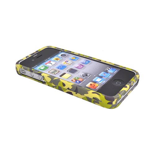 Luxmo Apple Verizon/ AT&T iPhone 4, iPhone 4S Rubberized Hard Case - Green Camouflage