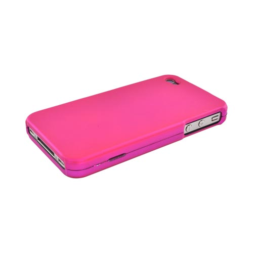 Apple Verizon/ AT&T iPhone 4, iPhone 4S Rubberized Hard Case - Hot Pink