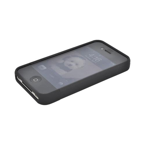 AT&T/ Verizon Apple iPhone 4, iPhone 4S Slide-On Rubberized Hard Case - Black