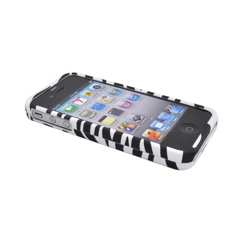 Apple Verizon/ AT&T iPhone 4, iPhone 4S Rubberized Hard Case Zebra - Black/White
