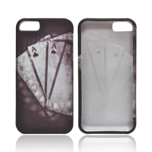 Apple iPhone 5/5S Rubberized Hard Case - Black/ White Aces w/ Laurel Leaf Imprint