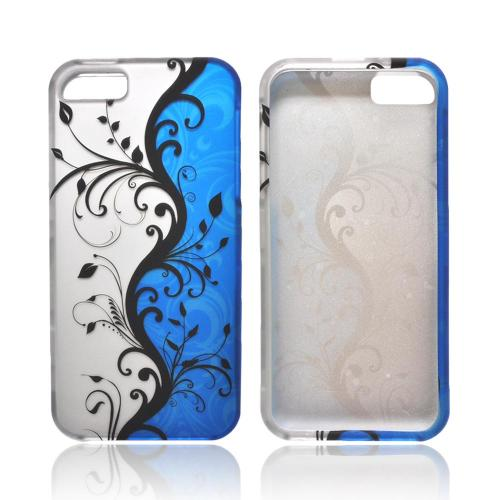 Apple iPhone 5/5S Rubberized Hard Case - Black Vines on Silver/ Blue