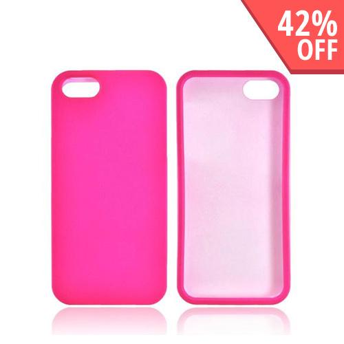 Apple iPhone 5 Rubberized Hard Case - Hot Pink