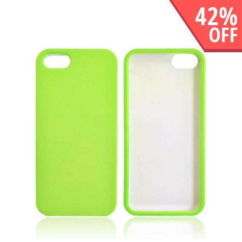 Apple iPhone SE / 5 / 5S Hard Case,  [Neon Green]  Slim & Protective Rubberized Matte Finish Snap-on Hard Polycarbonate Plastic Case Cover