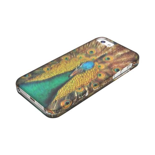 Apple iPhone 5/5S Rubberized Hard Case - Yellow/ Green Royal Peacock