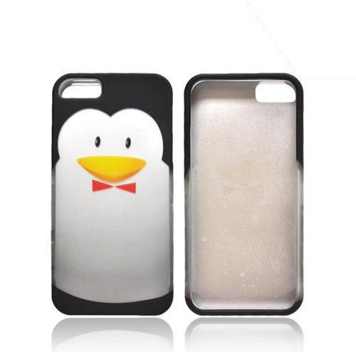 Apple iPhone 5/5S Rubberized Hard Case - Black/ Silver Penguin w/ Bow Tie
