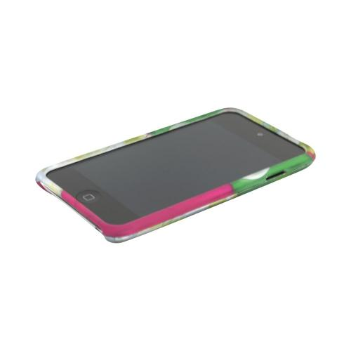 Apple iPod Touch 4 Rubberized Hard Case - Green/ Hot Pink Owl Design