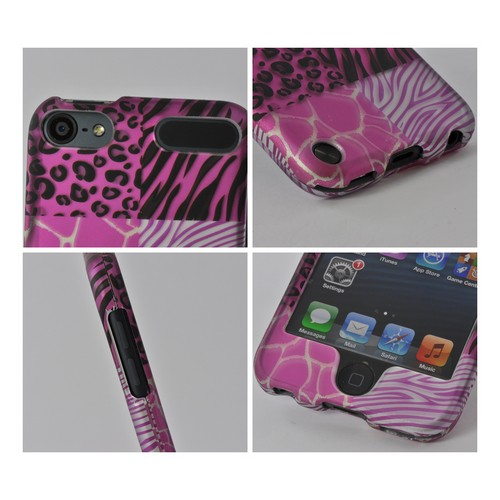 Pink Animal Print Rubberized Hard Case for Apple iPod Touch 5