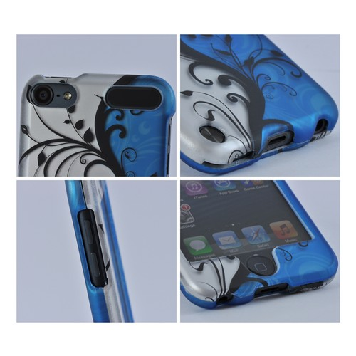 Apple iPod Touch 5 Rubberized Hard Case - Black Vines on Silver/ Blue