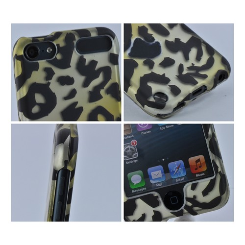 Apple iPod Touch 5 Rubberized Hard Case - Gold/ Black Leopard