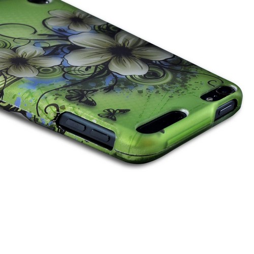 Apple iPod Touch 5 Rubberized Hard Case - White Hawaiian Flowers on Green