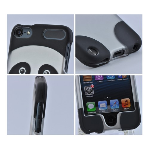 Apple iPod Touch 5 Rubberized Hard Case - Silver/ Black Panda