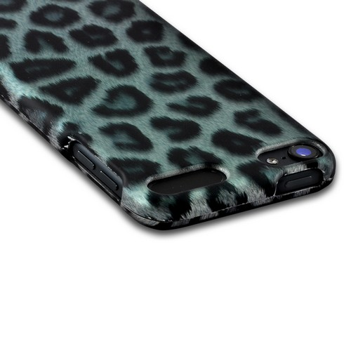 Blue/ Black Leopard Rubberized Hard Case for Apple iPod Touch 5