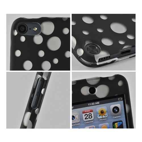 Silver Bubbles on Black Rubberized Hard Case for Apple iPod Touch 5