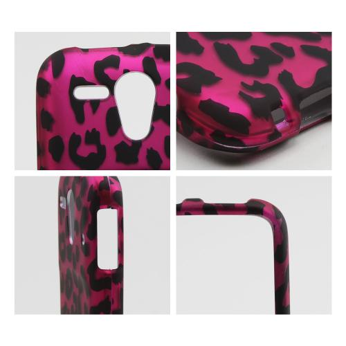 Black Leopard on Hot Pink Rubberized Hard Case for Kyocera Hydro Edge