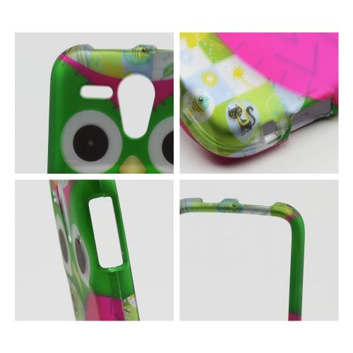 Hot Pink/ Green Owl Rubberized Hard Case for Kyocera Hydro Edge