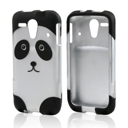 Silver/ Black Panda Bear Rubberized Hard Case for Kyocera Hydro Edge