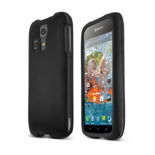Black Kyocera Hydro Icon Matte Rubberized Hard Case Cover; Perfect fit as Best Coolest Design Plastic cases