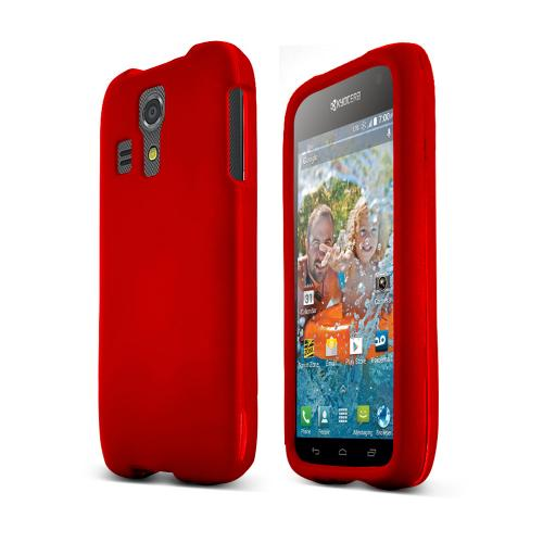 Red Kyocera Hydro Vibe Matte Rubberized Hard Case Cover; Perfect fit as Best Coolest Design Plastic cases
