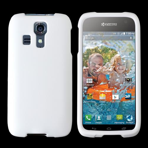 White Kyocera Hydro Icon Matte Rubberized Hard Case Cover; Perfect fit as Best Coolest Design Plastic cases