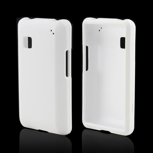 White Rubberized Hard Case for LG 840G