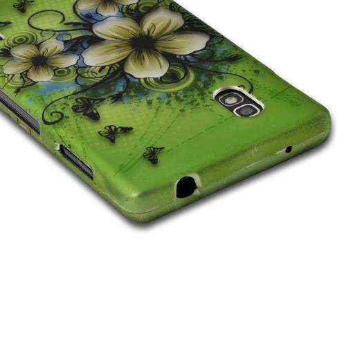 White Hawaiian Flowers on Green Rubberized Hard Case for LG Optimus G (AT&T)