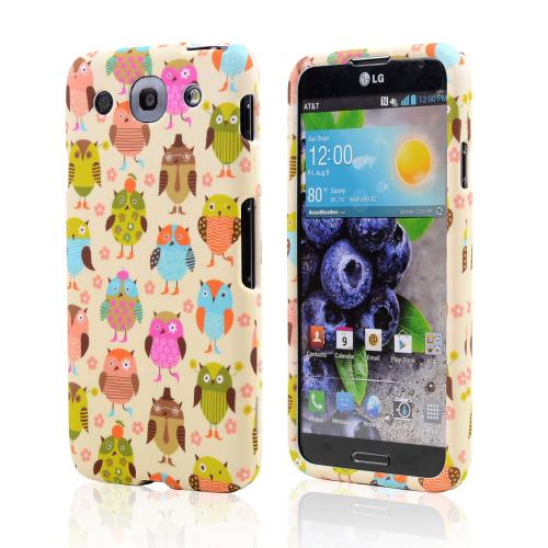 Retro Owls on Cream Rubberized Hard Case for LG Optimus G Pro