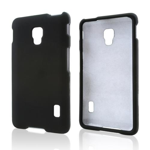 Black Rubberized Hard Case for LG Optimus F6