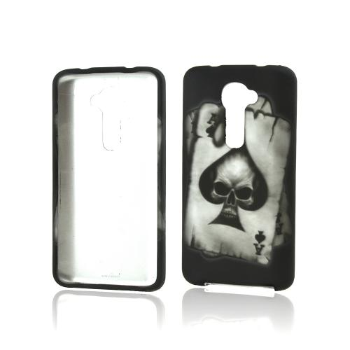 Ace Spade Skull on Black Rubberized Hard Case for LG G2 (Verizon Version)
