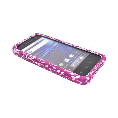 T-Mobile G2X Rubberized Hard Case - White Floral on Purple