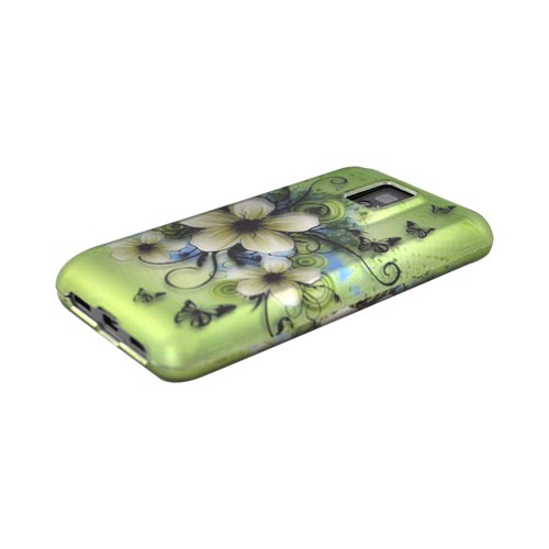 T-Mobile G2X Rubberized Hard Case - Hawaiian Flowers on Green