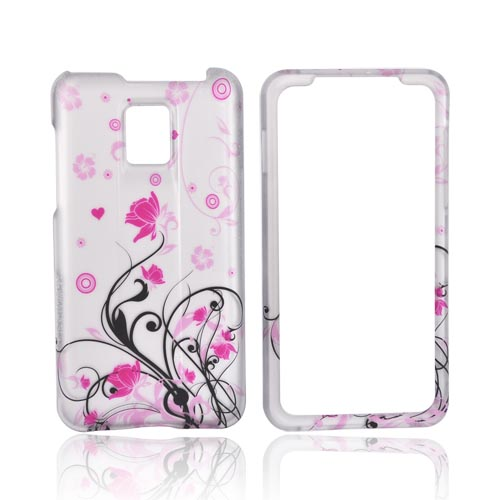 T-Mobile G2X Rubberized Hard Case - Pink Floral on Silver