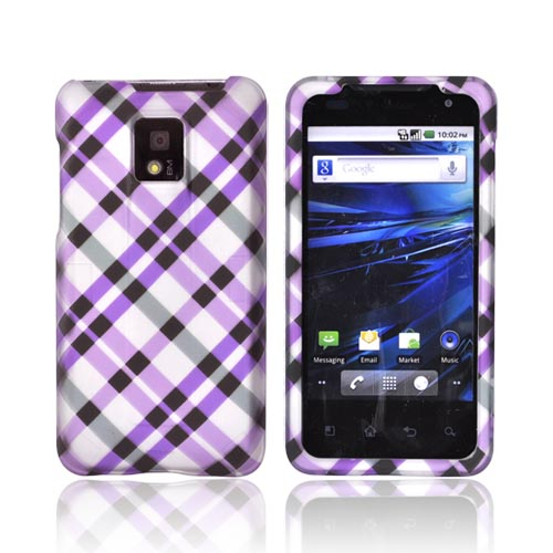 T-Mobile G2X Rubberized Hard Case - Purple & Black Plaid