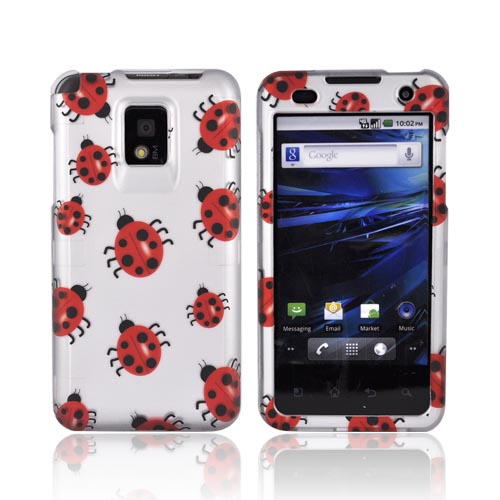 T-Mobile G2X Rubberized Hard Case - Red Ladybugs on Silver