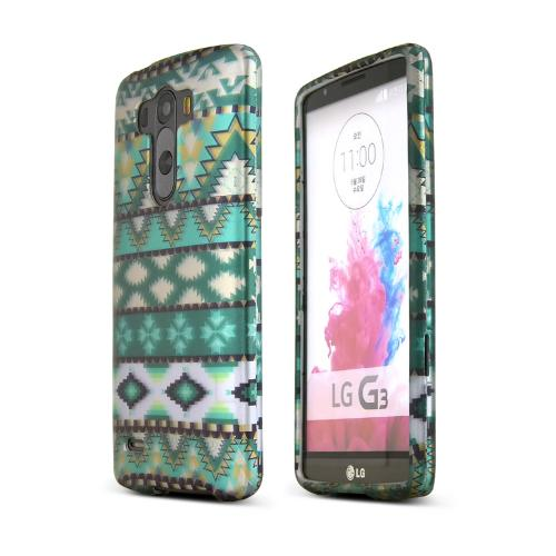 LG G3 Case,  [Green Aztec]  Slim & Protective Rubberized Matte Finish Snap-on Hard Polycarbonate Plastic Case Cover