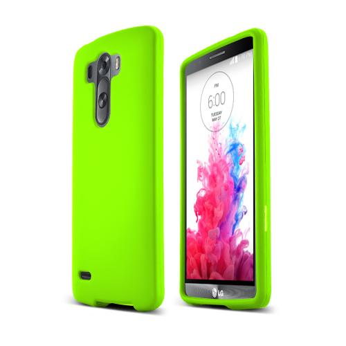 Neon Green LG G3 Matte Rubberized Hard Case Cover; Perfect fit as Best Coolest Design Plastic Cases
