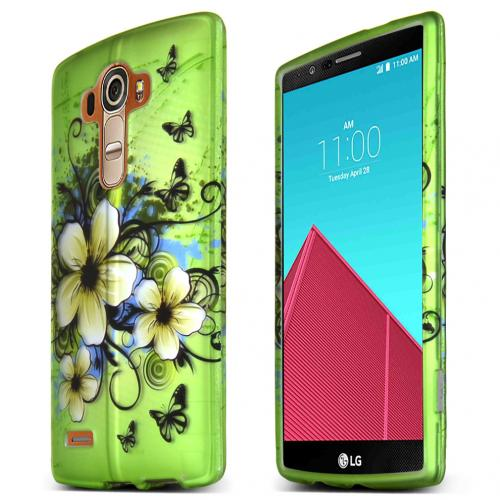 LG G4 Case, [Green Hawaiian Flowers] Slim & Protective Rubberized Matte Finish Snap-on Hard Polycarbonate Plastic Case Cover