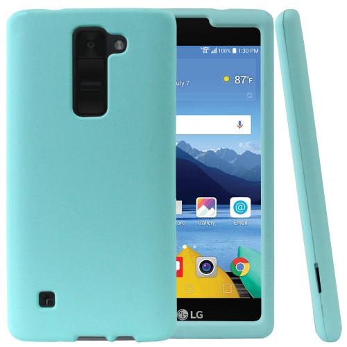 LG K8V [Verizon] Protective Rubberized Slim Hard Case With Anti-Slip Matte Rubber Finish [Mint] with Travel Wallet Phone Stand