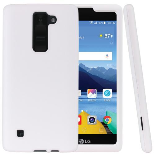 LG K8V [Verizon] Protective Rubberized Slim Hard Case With Anti-Slip Matte Rubber Finish [White] with Travel Wallet Phone Stand